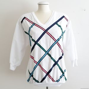 Vintage 80's Womens White & Striped Pullover